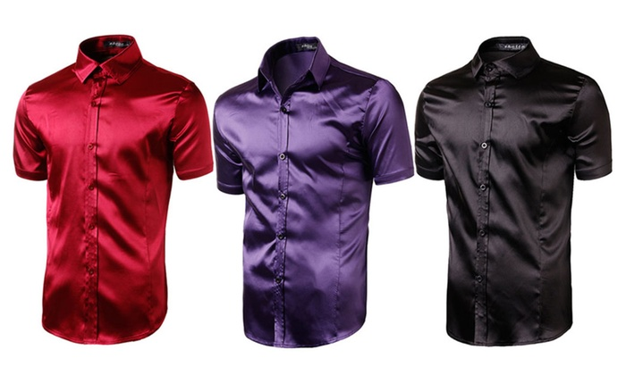 Men's Fashion Silk Short Sleeve Blouse
