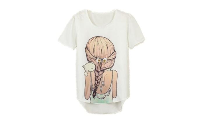 Cute Fashion Women's Korean Short Sleeve Loose Casual T-shirt Tops
