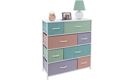 Furniture Dresser w/ 8 Drawers- Kids Bedroom Storage Chest Tower (Pastel Colors)