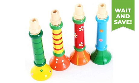 1 Pcs Multi-Color Baby Wooden Horn Trumpet Instruments Music Toys