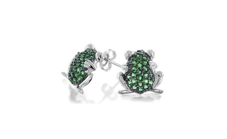 Bling Jewelry Simulated Emerald CZ Frog Stud Earrings 925 Silver 36119212-7dd0-43ab-aa20-edf84531a79f