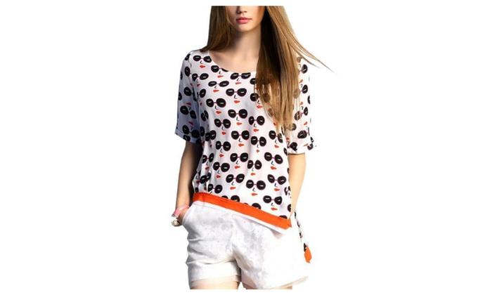 Women's Slim Fit Casual Casual Ribbed Hem Printed T Shirt