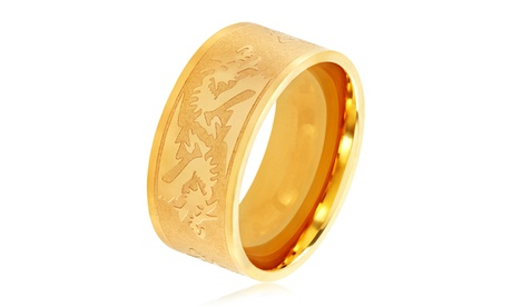 Men's Gold Plated Stainless Steel Etched Dragon Ring - 10mm Wide 79e958da-d137-41e6-b538-2fb98d4522a4