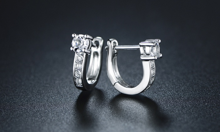 0df0cd4cff1ae 18K White Gold Plated Huggie-Hoop Earrings Made with Swarovski ...