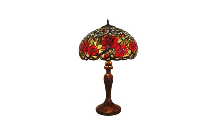 Amora lighting am1535tl16 tiffany style red roses table lamp 24