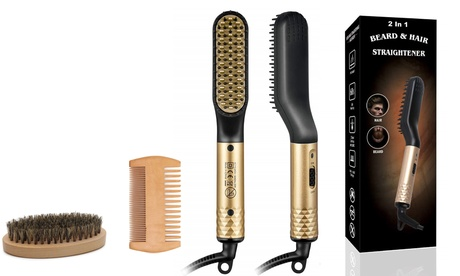 Electric Beard Straightener Hair Straightening Comb FREE Wooden Comb and Brush