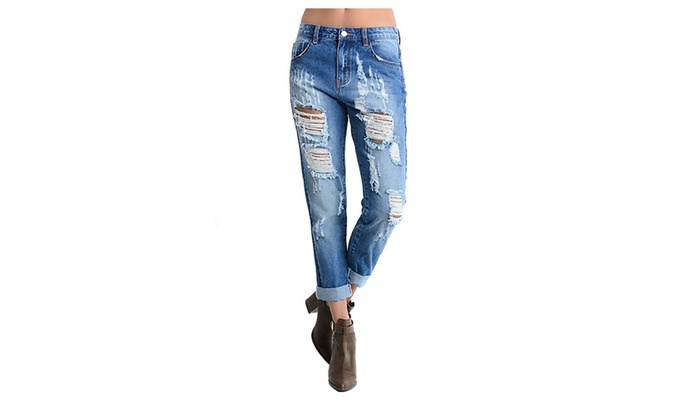 Womens Light Wash Destroyed Denim Cropped Boyfriend Jeans