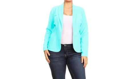 Women's Plus Size Casual Long Sleeves Open Front Office Work Wear Blazer Jacket