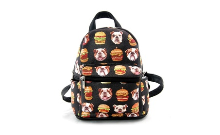 Sleepyville Critters Bulldogs and Burgers Mini Backpack Purse (Goods Women's Fashion Accessories Handbags) photo