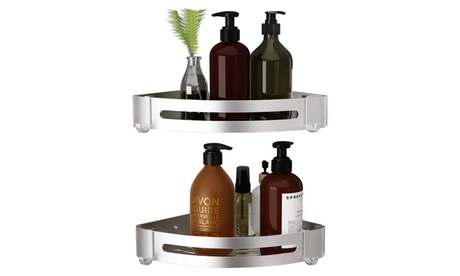 Corner Shower Bathroom Shelf No Drilling Strong Stainless Steel with 2 Hooks