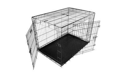 """iMounTEK Double-Door Folding Metal Dog Crate (18"""", 24"""", 30"""", 36"""", 42"""", 48"""")"""