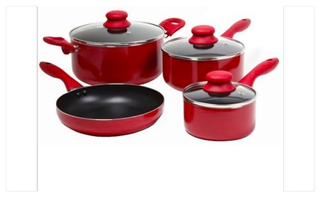 Gibson Colorsplash Branston 7 pc Cookware Set- Red photo