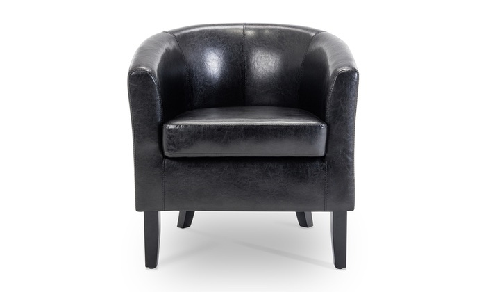 Belleze Highland Barrel Chair Club Chair, Faux Leather   Groupon