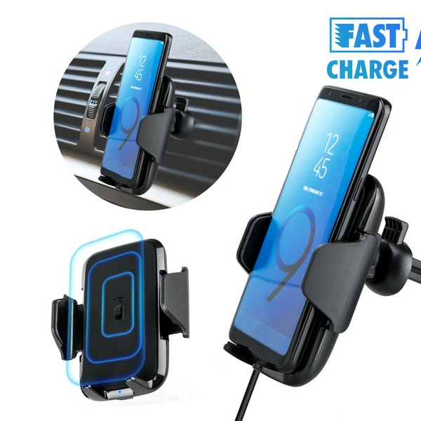 Wireless Car Charger Magnetic Mount Holder For iPhone X 8 Samsung S8 Note 9 8