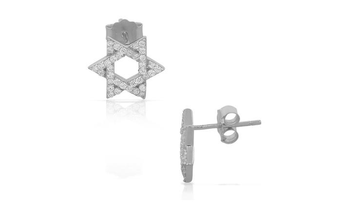 d151b759c 925 Sterling Silver CZ Jewish Star of David Stud Earrings | Groupon