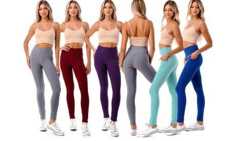 Women's High Waist Texture Ruched Lifting Leggings Tummy Control Yoga Pant