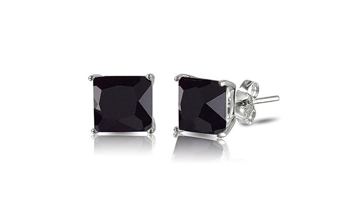 4388c978195c5 Sterling Silver Princess Cut Simulated Black Onyx CZ Stud Earringd