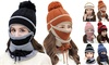 3pcs Women Winter Knitted Beanie Hat Scarf Face Cover Set w/Pom Bobble