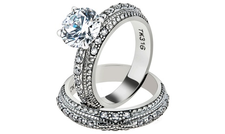 Women's 3.25 Ct Round Cut CZ Vintage Inspired Stainless Steel Wedding Ring Set