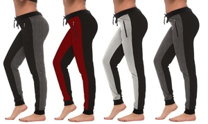 Coco Limon Women's 4 Pack 2 Tone Long Joggers With Zipper Pockets (Plus sizes)