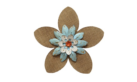 Stratton Home Decor Burlap Flower Wall Decor- Light Blue 60f9376c-54c5-4bd8-af53-f7a9bcdc9c70