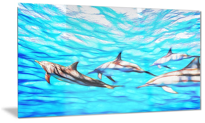 Family of Dolphins Ocean Metal Wall Art 28x12 | Groupon