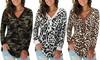 Women's Leopard Print V-Neck Button Camo Causal Long Sleeve Tops Henley Blouse