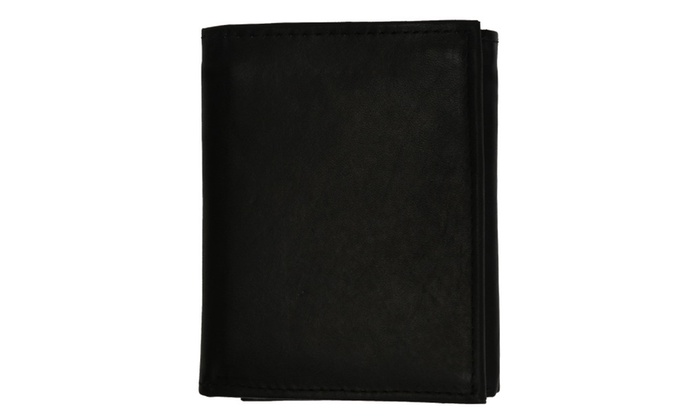 Cowhide Leather Extra Capacity Trifold Wallet with Detachable ID Flap