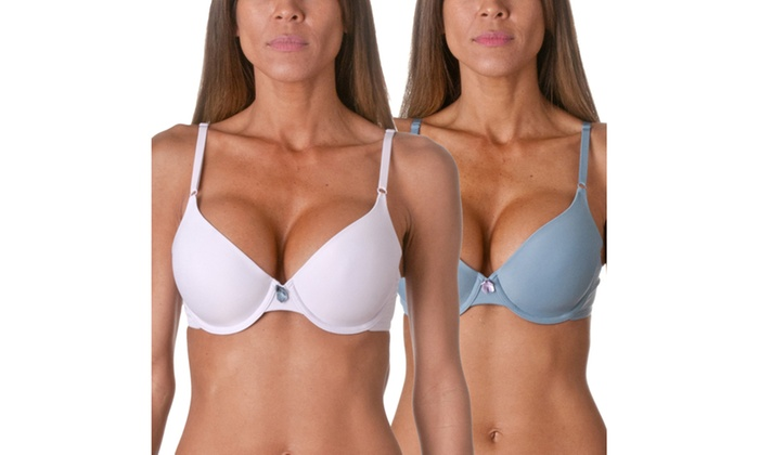 Maidenform Fab Fit T-Shirt Bras 2 Pack, Lux Lilac- Blue Charcoal