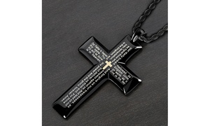 Men's Stainless Steel Lord's Prayer Cross on 24 Inch Chain Necklace