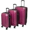 AMKA 86PC038-PURPLE TSA Locks Hardside Upright Spinner Luggage Set Purple - 3 Pi