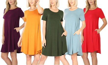 Women's Short Sleeve Dress with side Pocket