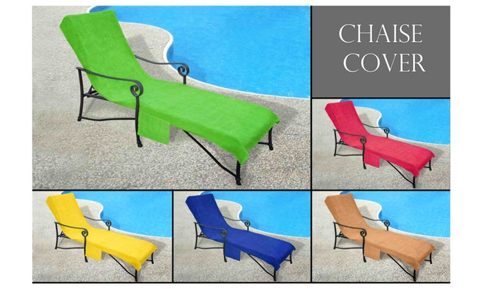 Crover Chaise Lounge Cover Towel with 10  Slip-on Back and Side Pocket ...  sc 1 st  Groupon : chaise lounge towels - Sectionals, Sofas & Couches