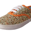Women's Floral Lace Up Round Toe Canvas Sneakers