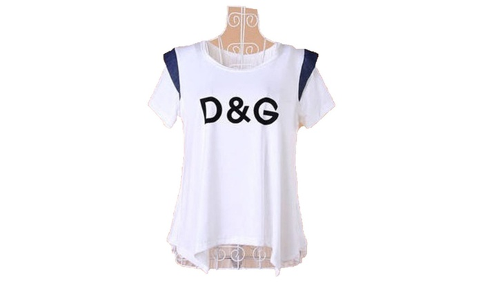 Women's Korean Blouse Logo Crew Neck Slim Fit Tee Shirt