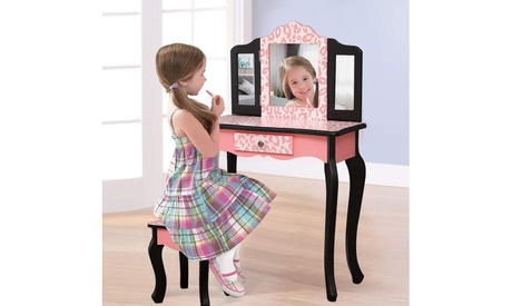 Kids' Wooden Vanity Table and Stool Set, Princess Makeup Dressing Table