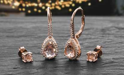 00b4a85bc Shop Groupon Lesa Michele 14K Rose Gold Plated Cubic Zirconia 2-Pc. Earring  Set