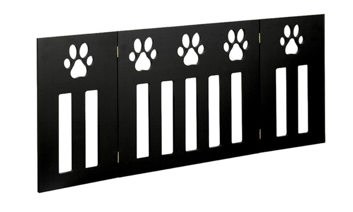 "48"" Freestanding Pet Gate w/ Paw Cut Out – Wood Dog Gates Indoor ..."