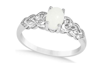 Diamond Accented Opal Heart Fashion Ring 14k White Gold (0.50ct) 2a2cde3d-a7be-4e6b-8ae0-fe32991e67b3