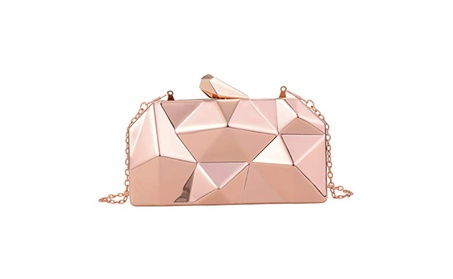 QZUnique Women's Alloy Metal Evening Handbag Geometric Purse bags - Champagne (Goods Women's Fashion Accessories Handbags) photo