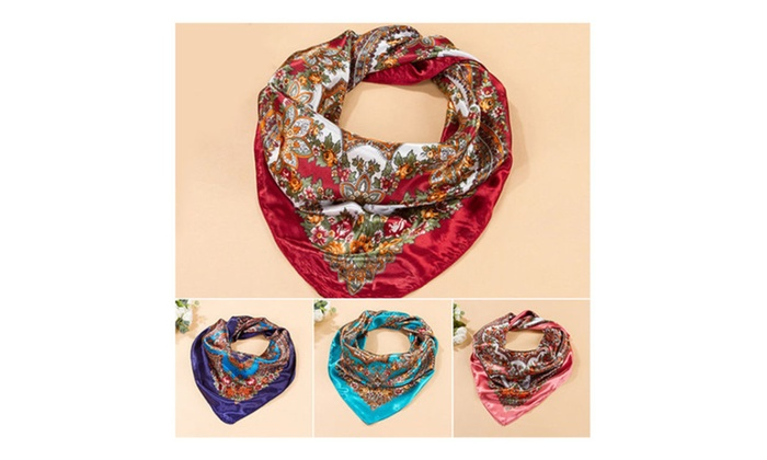 Square Silk-Like Imitated Satin Scarf Flower Printing Wrap Soft, Comfy