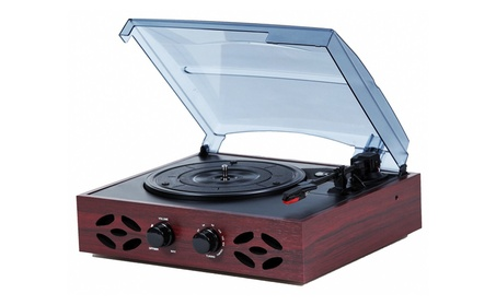 Retro Classic 3 Speed Wooden Turntable w/ FM Radio & Built-in Speakers 0e357ebe-2ef1-40d5-b596-d58d2d4e8738