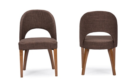 Closeout: Lucas Style Brown Fabric Dining Chair (Set of 2)