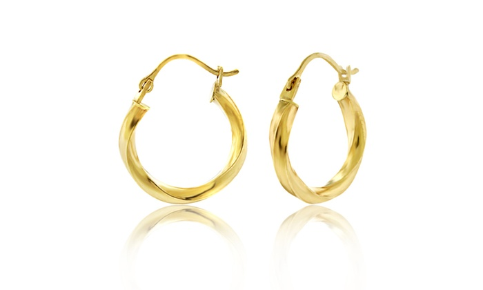 14kt Gold Twisted Hoop Earrings In 16mm Groupon