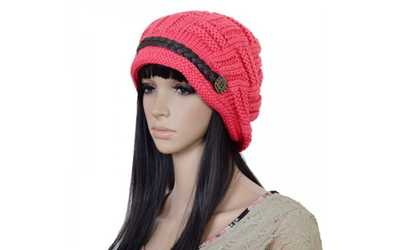 Shop Groupon Women Winter Beanie Cabled Checker Pattern Knit Hat Button  Strap Cap 6d1eb7bb1e04