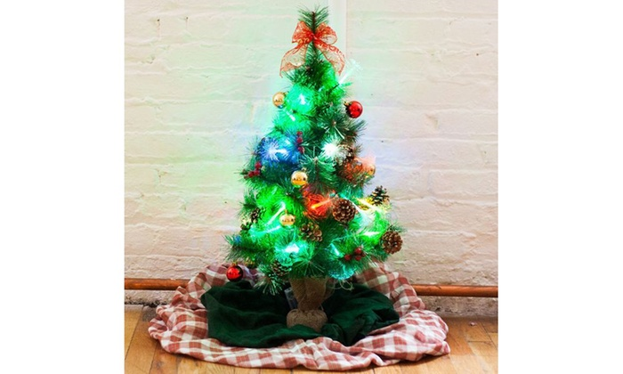 mini pre lit christmas tree with decorations 32 height battery operated - Battery Operated Christmas Trees