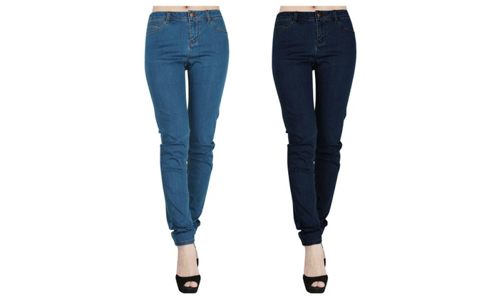 JNTworld Women's Simple Mid-Rise Jeans Casual Jeans Skinny Pants