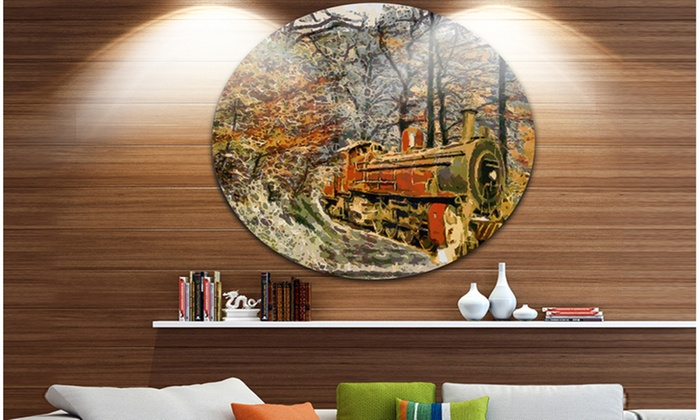 Up To 15 Off On Train In Forest Oil Painting Groupon Goods