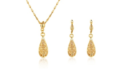 14K Gold Plated Laser Cut Filigree Teardrop Necklace and Earrings Set Was: $99.99 Now: $13.99.