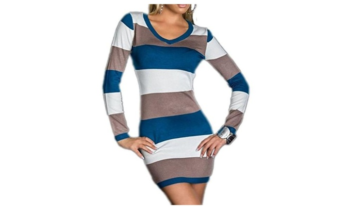 Women's Stripes Long Sleeve Bodycon Cocktail Club Party Mini Dress
